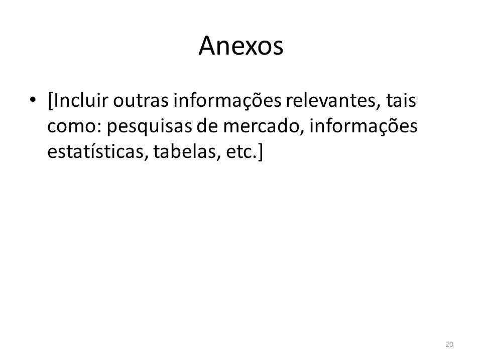 Anexos[Incluir outras informações relevantes, tais como: pesquisas de mercado, informações estatísticas, tabelas, etc.]